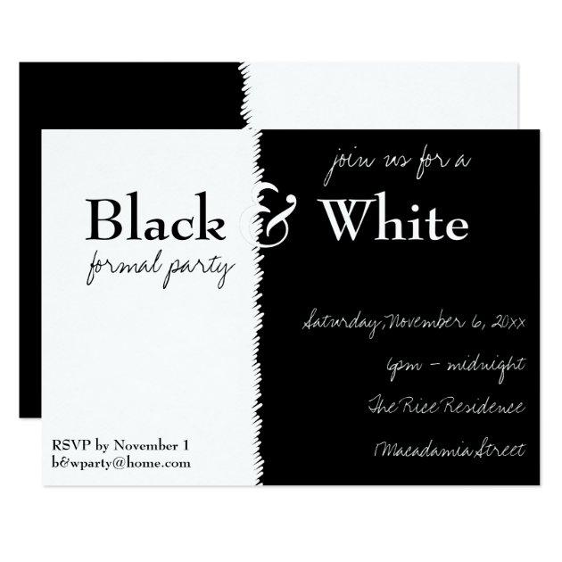 black and white theme party invitation  zazzle, Party invitations