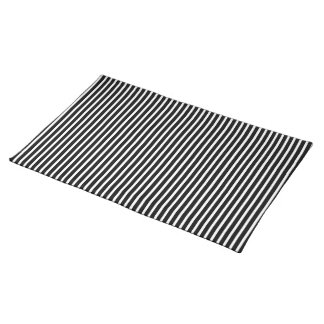 Black and White Thin Striped Cloth Placemat