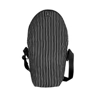 Black and White Thin Striped Courier Bag