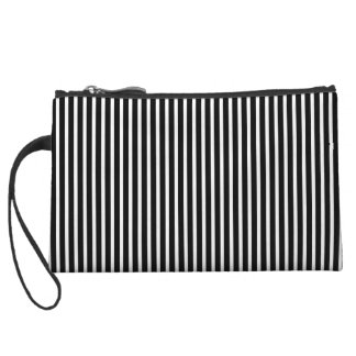 Black and White Thin Striped Wristlet Clutch