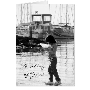 """Black and white """"Thinking of you"""" Card"""