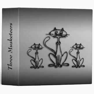 Black and White Three Cats Personalized Binder