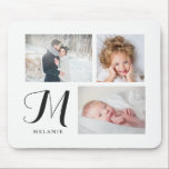 """Black and White Three Photo Collage with Monogram Mouse Pad<br><div class=""""desc"""">This simple yet elegant mousepad features three of your personal photos,  with your name and monogram in black on a white background.</div>"""