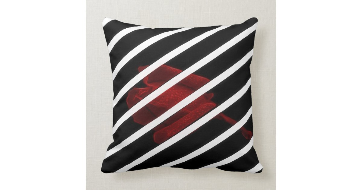 Black and white throw pillow, with red rose throw pillows Zazzle