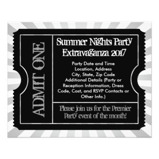 """Black and White Ticket Flyers, Custom Printing 4.5"""" X 5.6"""" Flyer"""