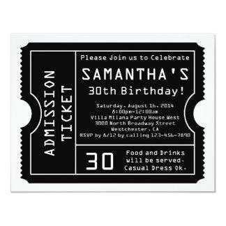 Black and White Ticket Invitation, Digital Style 4.25x5.5 Paper Invitation Card