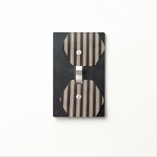 BLACK AND WHITE TICKING SINGLE TOGGLE SWITCH LIGHT SWITCH PLATE