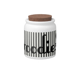 Black and White Ticking Stripes Goodies Jar Candy Dish