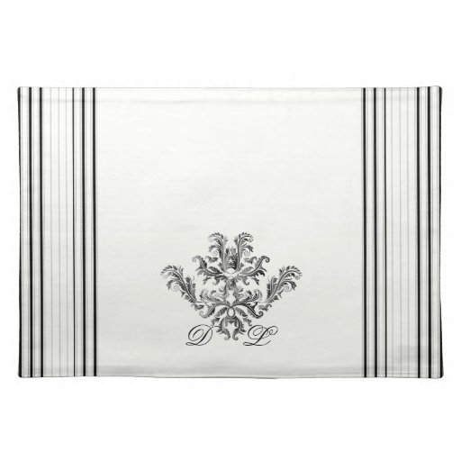 black and white ticking stripes placemat zazzle. Black Bedroom Furniture Sets. Home Design Ideas