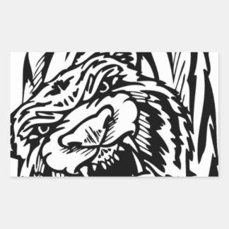 Black and white tiger attacking rectangular sticker