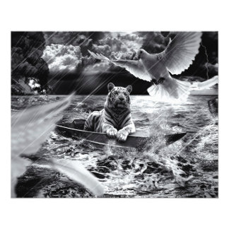 """Black and White Tiger Boat Sailing Skylight 4.5"""" X 5.6"""" Flyer"""