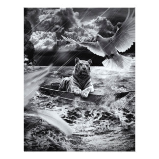 """Black and White Tiger Boat Sailing Skylight 8.5"""" X 11"""" Flyer"""