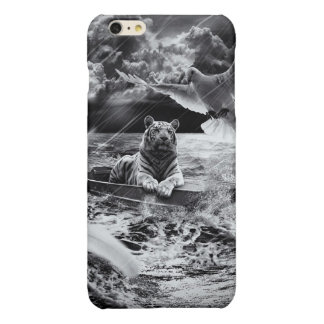 Black and White Tiger Boat Sailing Skylight Glossy iPhone 6 Plus Case