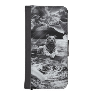 Black and White Tiger Boat Sailing Skylight iPhone 5 Wallets