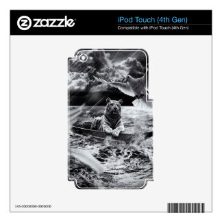 Black and White Tiger Boat Sailing Skylight Skin For iPod Touch 4G