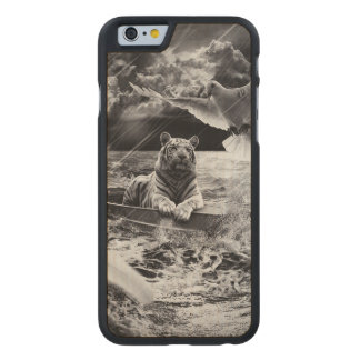 Black and White Tiger Boat Sailing Skylight Carved® Maple iPhone 6 Slim Case