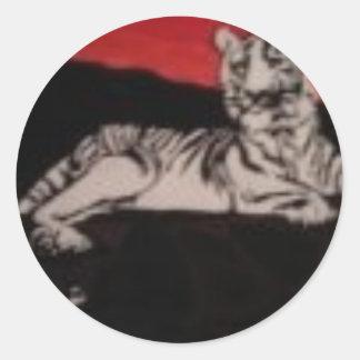 black and white tiger classic round sticker