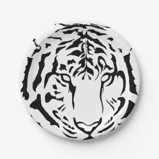 Black and White Tiger Close Up Paper Plates