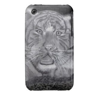 Black and White Tiger Cub Drawing in Charcoals iPhone 3 Cases