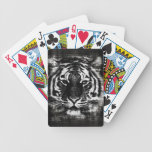 Black and White Tiger Face Close-Up 2 Bicycle Playing Cards