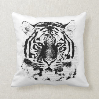 Black and White Tiger Face Close Up Throw Pillow