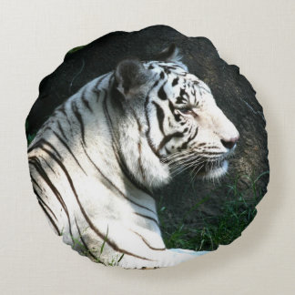 Black and white tiger face round pillow