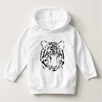 Black and White Tiger Face Toddler Hoodie