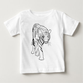 Black and White Tiger Made of Lines Facing Forward Baby T-Shirt