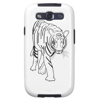 Black and White Tiger Made of Lines Facing Forward Samsung Galaxy S3 Case