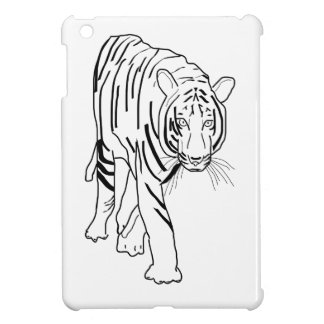 Black and White Tiger Made of Lines Facing Forward iPad Mini Cover