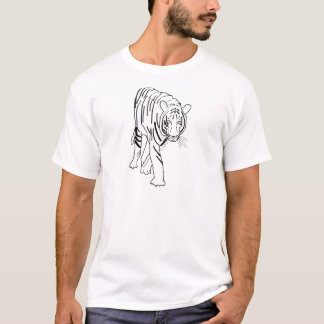 Black and White Tiger Made of Lines Facing Forward T-Shirt