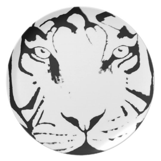 BLACK AND WHITE TIGER PLATE