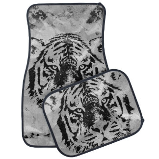 Black and white Tiger portrait  on paper canvas Car Floor Mat