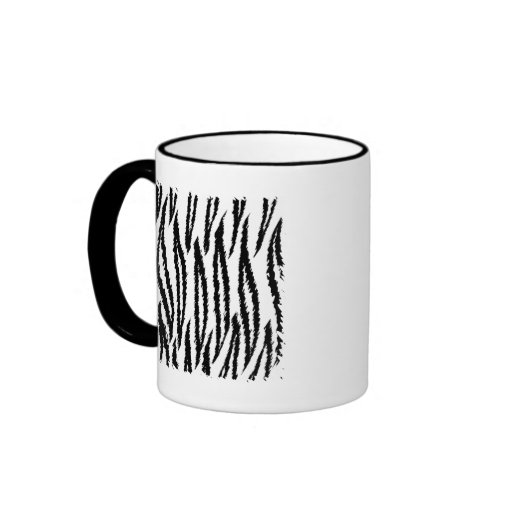 Black and White Tiger Print Pattern. Coffee Mugs