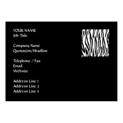 Black and White Tiger Print Pattern. Large Business Cards (Pack Of 100)