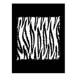 Black and White Tiger Print Pattern. Postcard