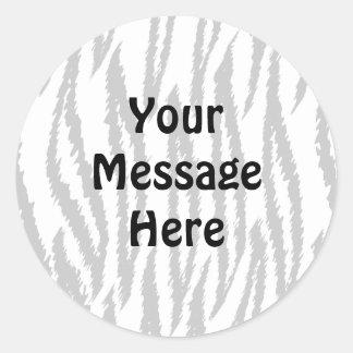 Black and White Tiger Print. Tiger Pattern. Classic Round Sticker
