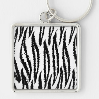 Black and White Tiger Print. Tiger Pattern. Key Chain