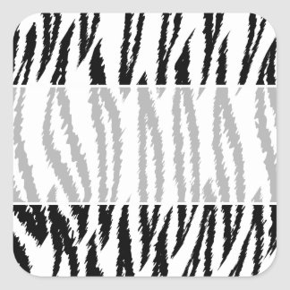 Black and White Tiger Print. Tiger Pattern. Square Sticker