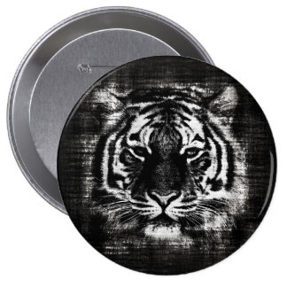 Black and White Tiger Vintage Button