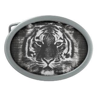 Black and White Tiger Vintage Oval Belt Buckle
