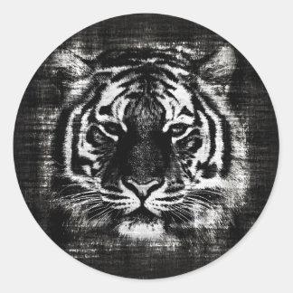 Black and White Tiger Vintage Sticker