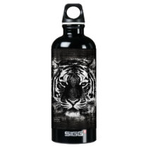 Black and White Tiger Vintage Water Bottle