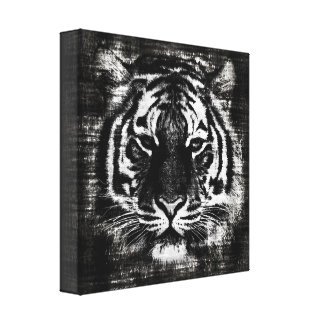 Black and White Tiger Vintage Wrapped Canvas