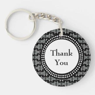 Black and White Tiki Pattern Thank You Keychain
