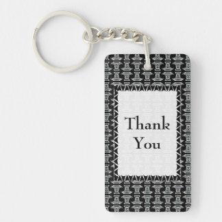 Black and White Tiki Pattern Thank You Double-Sided Rectangular Acrylic Keychain