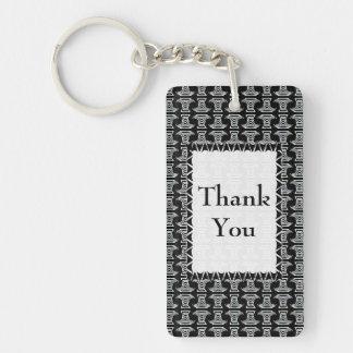 Black and White Tiki Pattern Thank You Single-Sided Rectangular Acrylic Keychain