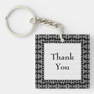 Black and White Tiki Pattern Thank You Double-Sided Square Acrylic Keychain