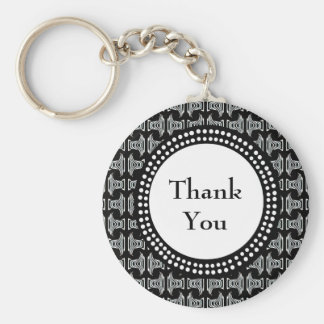 Black and White Tiki Pattern Thank You Basic Round Button Keychain