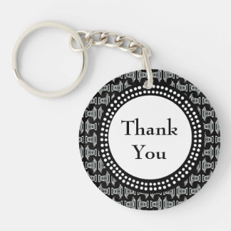 Black and White Tiki Pattern Thank You Double-Sided Round Acrylic Keychain